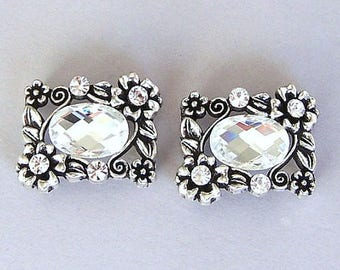 2 sparkly clear two hole beads, rectangular faceted glass, bridal jewelry slider beads