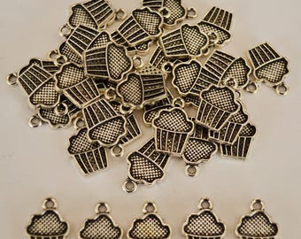 10 x Cupcake Antique Silver Charms - 15mm x 10mm