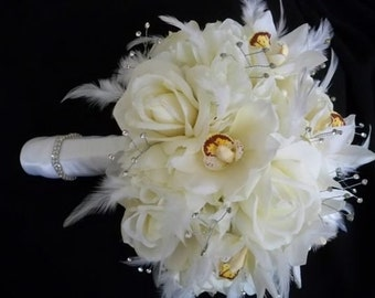 Realtouch Classic Rose And Cymbidium Orchid Bouquet and Boutonniere