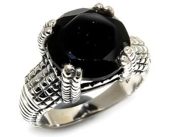 Natural Black Onyx Round Gemstone Ring 925 Sterling Silver R1298