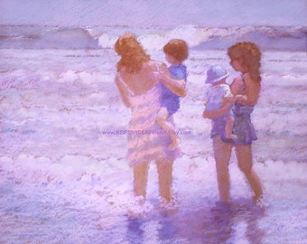 Mothers figures print 8x10 beach, moms with children, surf, baby, mother's day, lavender, blue, pink, holding children, seashore, shore