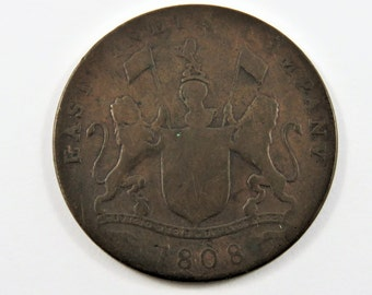 India-British Madras Presidency 1808 20 Cash Coin East India Company.