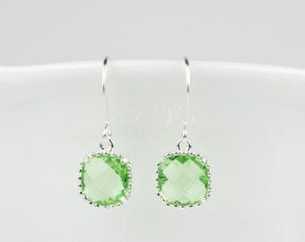 Peridot Green Silver Earrings, August Birthstone Square Earrings, Peridot Sterling Silver Earrings, Bridesmaid Earrings