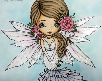 Rose Bride Dollie - Digital Stamp Instant Download /  Cute Flower Fairy Doll by Ching-Chou Kuik