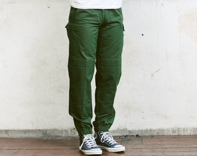 90s Green Utility Pants . Vintage Military Style Work Trousers Khaki Pants 90s Army Trousers Mens Cargo Pants Vintage Army Pants . sz Small