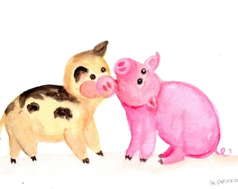 Glücklich Schweine-Aquarell Malerei original, humorvolle Schwein Tier Kunst glücklich lustige Schweine