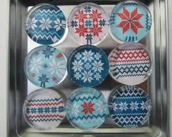 Christmas Decorations Fridge Magnets, Set of 9 Refrigerator Magnets & Storage Tin, Christmas Decoration, Christmas Decor Holiday Decorations