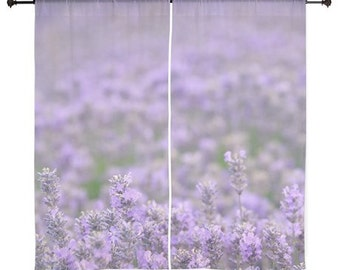 Sheer Curtains - Purple lavender flowers floral wildflowers, Home Decor, nature photography by RDelean Designs