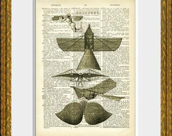 Dictionary Page FLYING MACHINES art print - upcycled antique dictionary page with a retooled antique flight illustration - vintage wall art