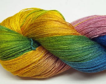 Hand painted Vivax Bamboo yarn,2.8oz, Rainbow Sherbet