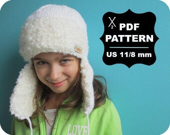 English-French Two Needle KNITTING PATTERN / Digital Download / #55 / Knitted Fox Hat / 6-16M to 5 years-Adult / US11 / 8mm