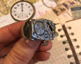 Men's Jewerly, Large Rings, Steampunk Jewelry, Steampunk Ring, Mens Rings, Watch, Jewelry, Unisex, Mens Ring, Mens Steampunk, Mens Jewelry