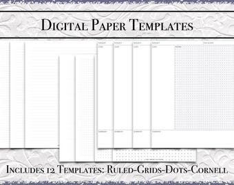 Digital Paper Bundle | US Letter Size | Printable PDF |DigiBujo|College|Wide|Grids|Dots|Cornell Notes|GoodNotes Template