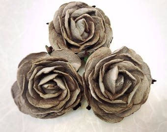 3 pcs. 2.5 inches large Gray mulberry roses - paper flowers #177