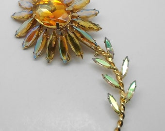Large Vintage Juliana D&E Aurora Rhinestone Flower Brooch