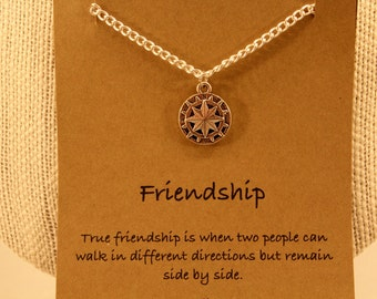 Compass Charm Necklace: Silver Tone Friendship Compass Necklace, Lost Without You, Best Friends, Friendship Necklace, Long Distance Friends