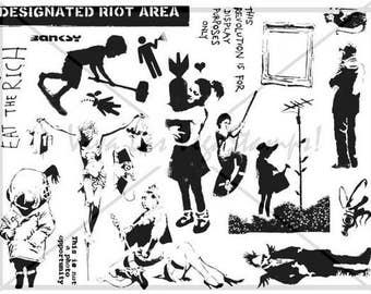rubber stamps unmounted plate  Banksy Rubber Stamp     no. 1454