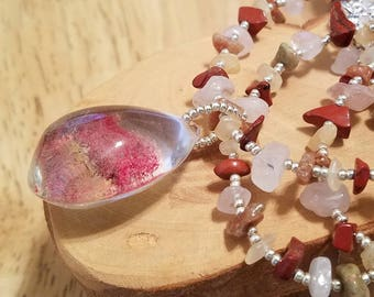 Red and Yellow Rose Petals lodolite quartz teardrop pendant and gemstone chip one of a kind adjustable necklace
