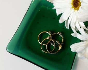 Sea Green Glass Jewelry Dish - Spoon Rest - Trinket Dish - Soap Dish