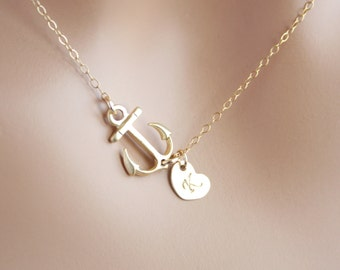 Personal Sideways Anchor necklace with Initial Heart in Gold. You can make your choice number of Hearts you want, Cute, Sweet necklace