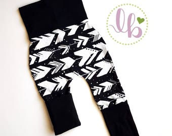 Grow pants | Grow with me | Harem pants | custom pants | toddler pants | baby pants |  babywearing | monochrome | baby tights