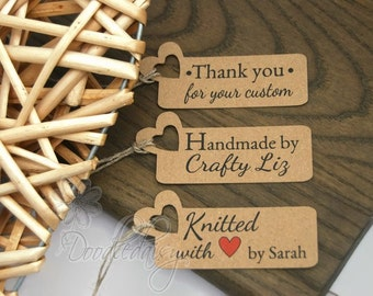 x32 Personalised product tags craft labels sewing knitting tags thank you tags