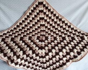 Handmade chunky crochet baby blanket - chocolate, cream and light natural