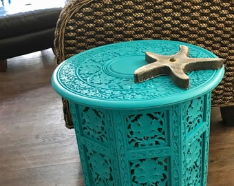 Vintage Carved Wood Table Turquoise From India Fold Up Hexagon Shape Plant Stand Moroccan Boho Beach House Style by CastawaysHall