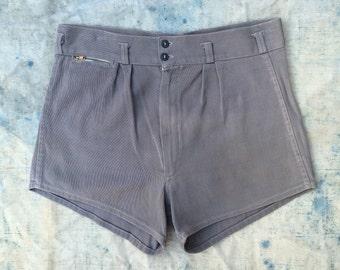 vintage ca. 1930s - 1940s men's athletic / swim shorts w. brass Talon zip pocket
