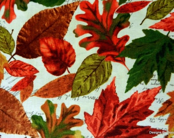 """One Half Yard Cut Quilt Fabric, Different Fall Leaves on Cream, """"Cabin"""" Pattern from Timeless Treasures, Sewing-Quilting-Craft Supplies"""