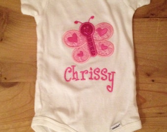 Pink Butterfly Shirt or Baby Bodysuit