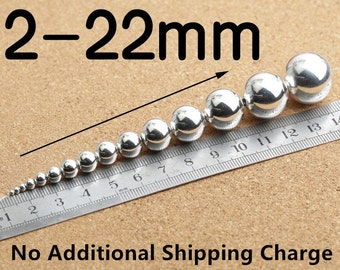Sterling Silver Beads, 925 Sterling Silver Beads, Sterling Silver Round Beads, 925 Silver Round Beads, 925 Silver Ball Beads 2mm - 22mm