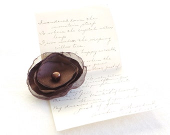Chocolate Brown Flower - Clip or Headband - Free Shipping in US