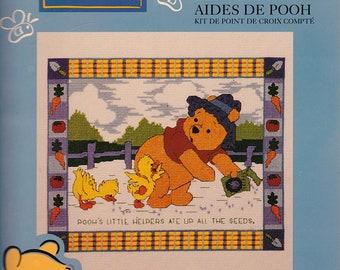 Leasure Arts Pooh's Little Helpers #113235, counted cross stitch kit, unopened full kit, needlework, gift, Winnie-the-Pooh, nursery decor