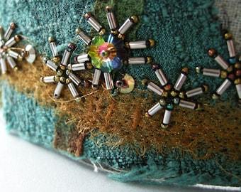 felted bead embroidery cuff, fiber cuff, handmade felted cuff, cuff bracelet