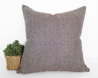 Herringbone Pillow, 18x18, 20x20, Brown Pillows, Farmhouse Pillow Covers, Wool Blend, Accent Pillows, Decorative Pillows, Brown Cushions