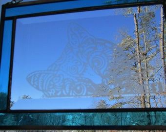 Stained Glass, Etched,  Sun Catcher -Tiger Kitty- Hand Crafted - Turquoise
