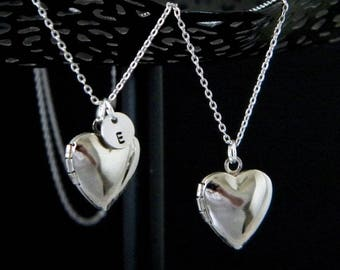 Silver Heart Locket, Personalized Locket, Initial Heart Locket Necklace, Silver Love Heart Locket, Silver Custom Locket, Bridesmaid Locket