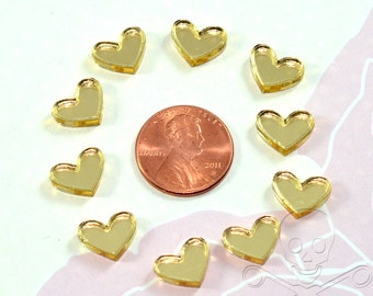 GOLD MIRROR HEARTS - Set of 10 Cabochons in Laser Cut Acrylic