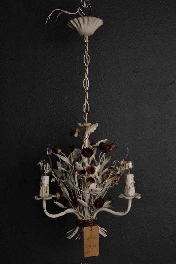 White toleware flower chandelier with brown flowers