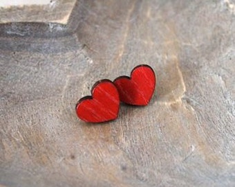Wooden Love Heart Earrings