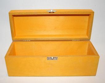 Yellow Wooden Box / Gift Box / Wooden Keepsake Box / Storage Box 9.84 x 3.15 x 3.74 inch