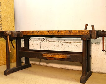 Woodworking bench, Carving bench, vintage office table