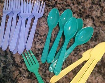 Twenty Piece Lot of Children Sized Plastic Silverware