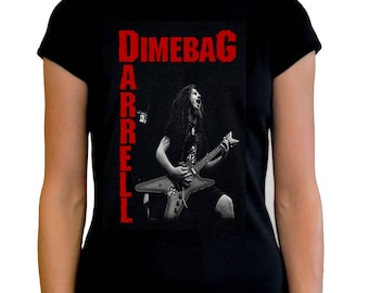 Dimebag darrell women t shirt different sizes guitar pantera band