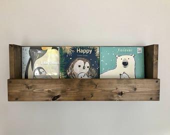 Rustic book shelf, Kids book storage, Book shelf, Playroom storage, Wall mounted book storage, Storage, Wall hanging, kids room organizer