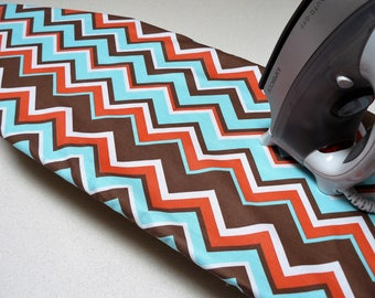 Ironing Board Cover TABLE TOP - brown orange white and tiffany blue chevron zig zag