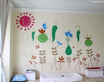 Children Playroom Wall Decals Kids Wall Stickers Floral Decals- Vegetable Flowers -Removable Wallpaper Designed by Pop Decors