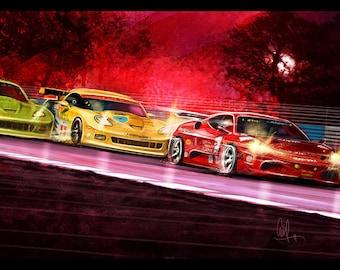 Automotive Art Red Ferrari and Yellow Corvette 12x18 Metallic Print