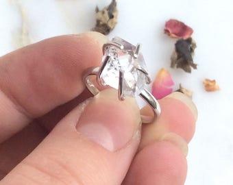 Raw Herkimer Diamond Ring. Herkimer Ring. Statement Ring. US Size 8. Herkimer Quartz Diamond Ring.